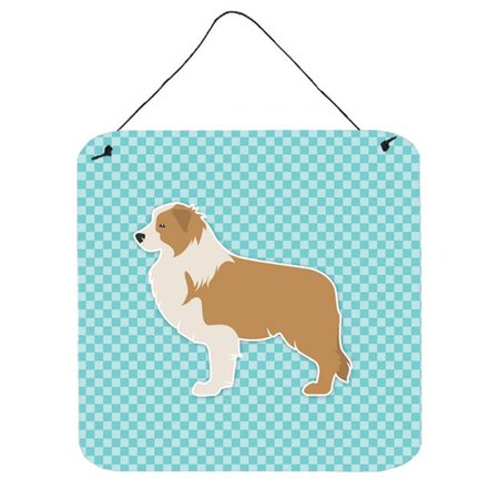 Red Border Collie Checkerboard Blue Wall or Door Hanging - Blue Border Collie