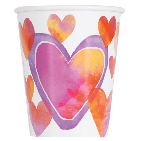 Watercolor Hearts Valentine's Day Paper 9oz Cups, 8ct (Paper Source Valentines Day)