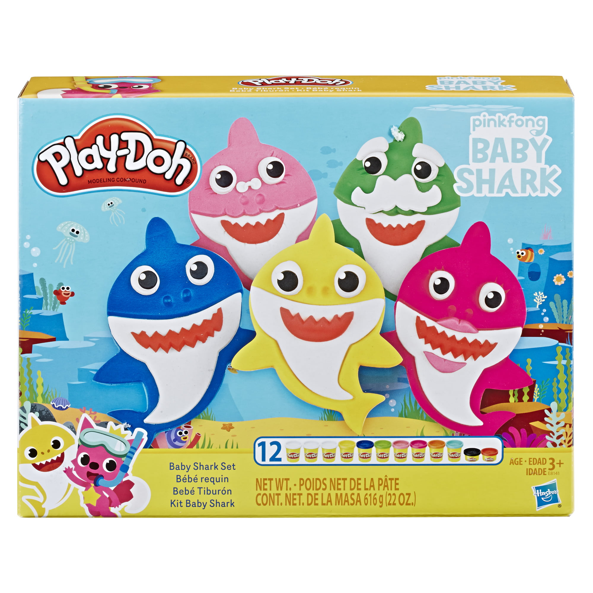 Play Doh Pinkfong Baby Shark Set With 12 Play Doh Cans And 21 Tools Walmart Com