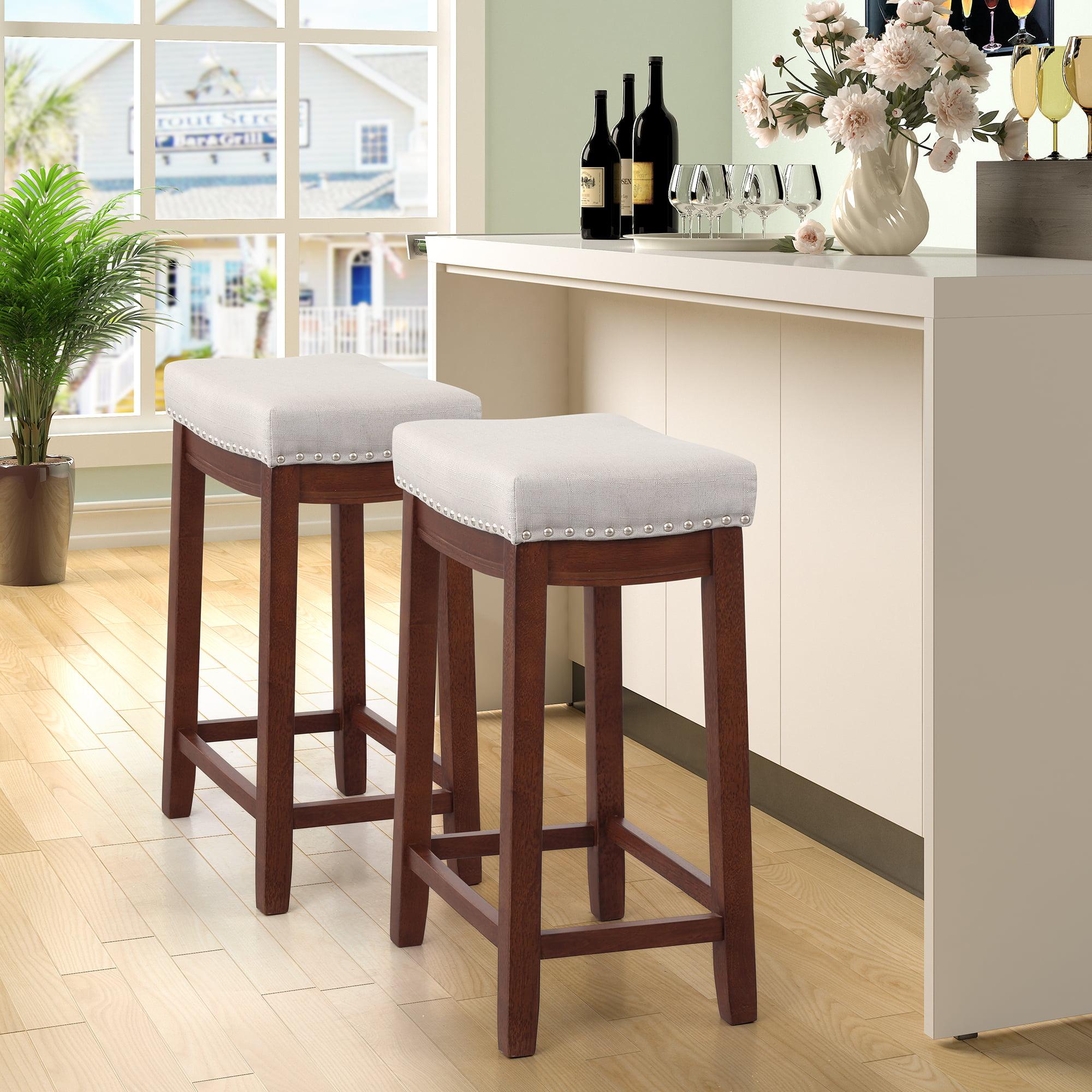 TKOOFN 2pcs 27 inch Seat Height Bar Stool Kitchen Backless ...