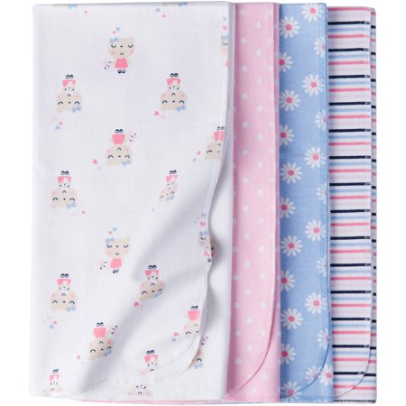 Gerber Newborn Baby Girl Assorted Flannel Receiving Blanket, 4-Pack