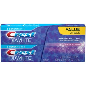 Crest 3D White Radiant Mint Whitening Toothpaste, 4.8Oz, Dual Pack
