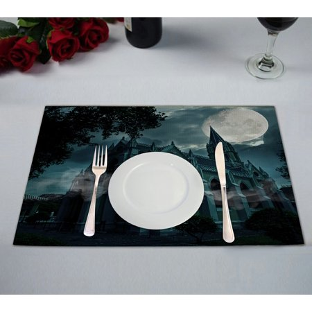 GCKG Full Moon Placemat, Halloween Hauted Church Castle Placemat 12x18 Inch,Set of 2 (Halloween Crafts For Church)