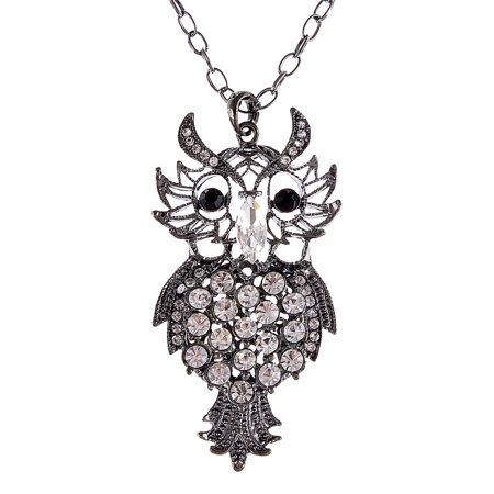 Filigree Shape Crystal Rhinestone Hoot Old Owl Costume Jewelry Pendant Necklace
