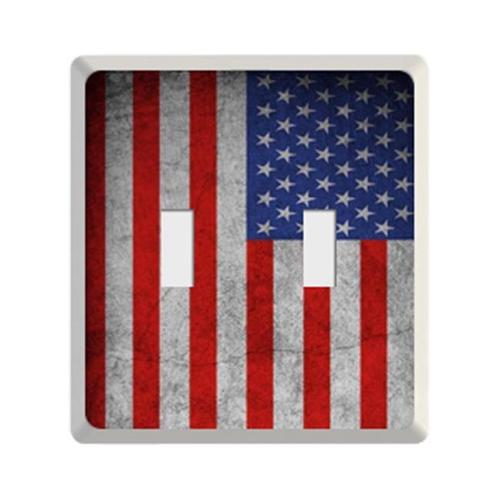 New Face Socket Covers NFSC100DWFUSA White Double Light Switch with USA Flag Skin