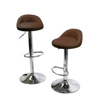 Round Bar Stools Swivel Kitchen Dinning Counter Adjustable Height Barstool Chair - Set of Coffee