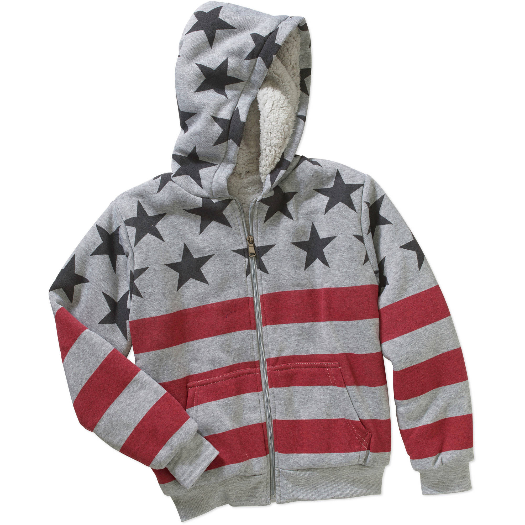 Bocini Boys' Fleece Zip Up Hooded Jacket