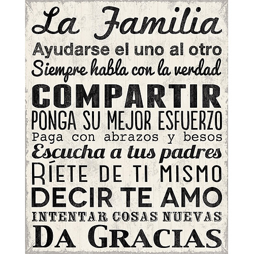 Family Rules Spanish Canvas Wall Art, 15  x 19