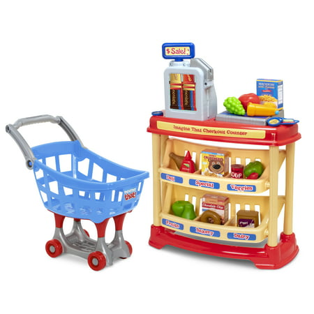 Imagine That! 25-Piece Checkout Counter with Bonus Shopping Cart