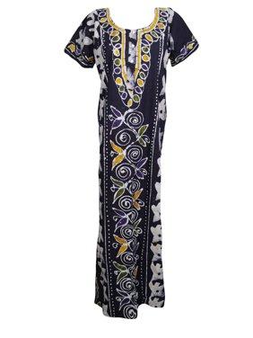 933526038e19 Product Image Mogul Women s Maxi Dress Kaftan Floral Print Night Wear  Nightgown Cover Up Caftan L