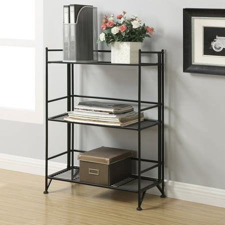 - Convenience Concepts Designs2Go Metal Folding 3 Shelf Wide Bookcase, Black