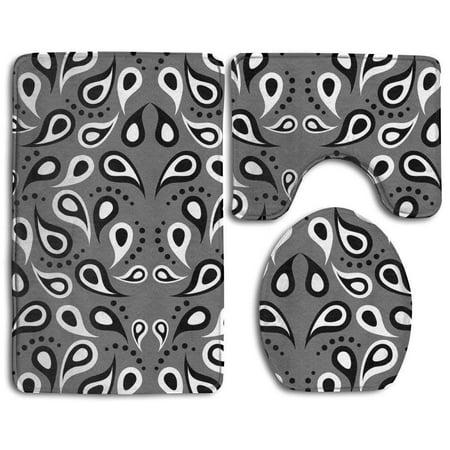 Gohao Black White And Gray Figure 3 Piece Bathroom Rugs