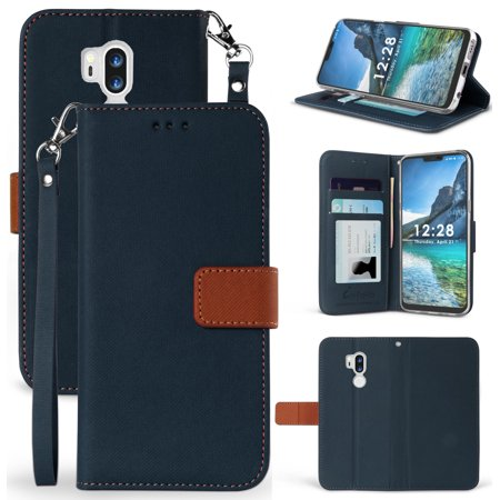 lg g7 thinq wallet case, new infolio wallet credit card slot cover, view stand [with magnetic closure, wrist strap lanyard] for lg g7 thinq phone, g710, g7 plus, (Abbreviation For Cell Phone On Business Card)