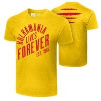 "Official WWE Authentic Hulk Hogan ""Hulkamania Lives Forever""  T-Shirt Yellow Small"