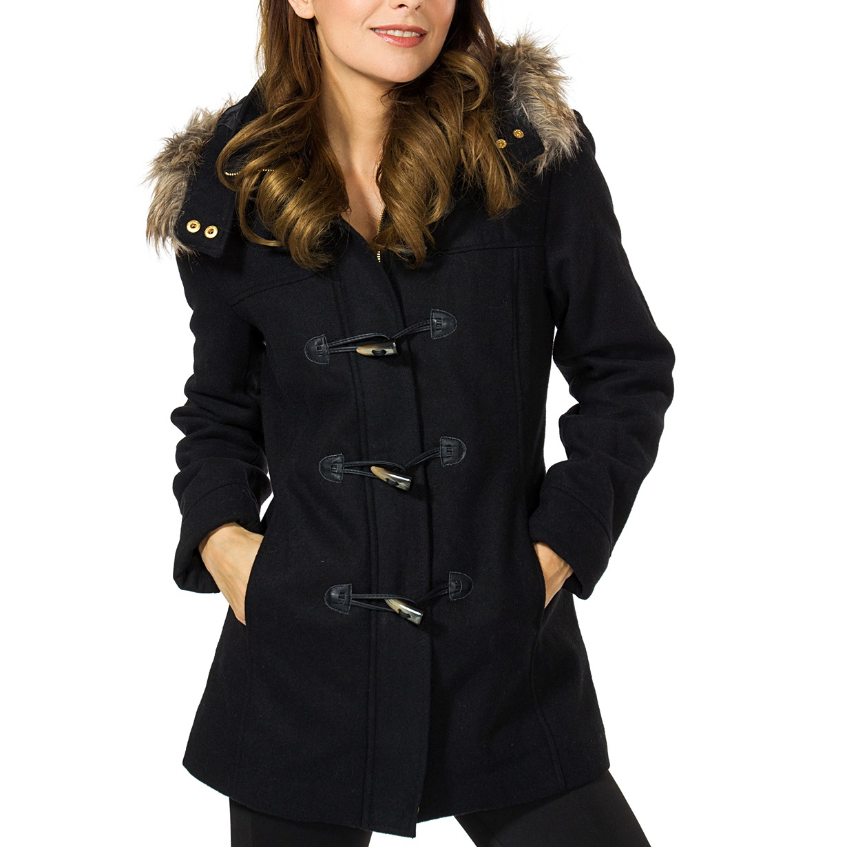 Womens Hooded Parka Coat Faux Fur Trim Toggle Button Wool Blazer ...