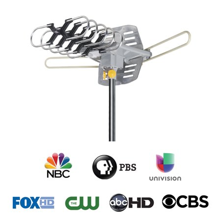 - Ematic HD TV Motorized Outdoor Antenna with 150-Mile Range