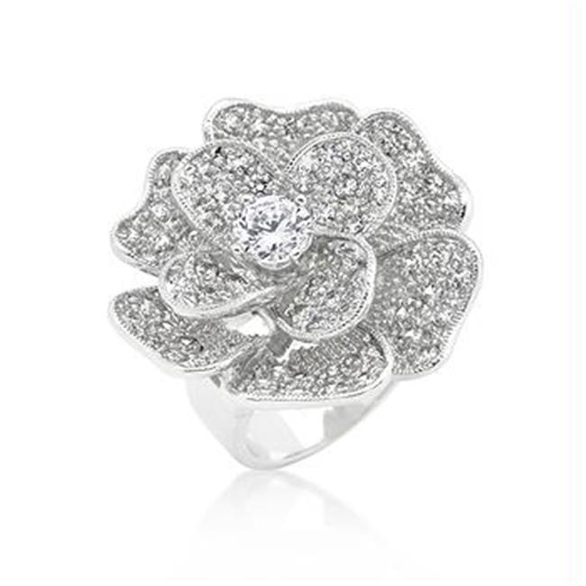 Large Flower CZ Cocktail Ring, <b>Size :</b> 07