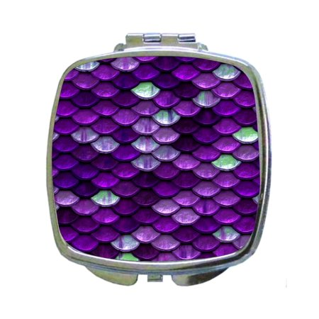 Purple Scallops Print - Compact Square Silvertone Mirror