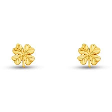 14k Yellow Gold Clover Crucifix Cross Stud Earrings (8 X (Gold Polished Crucifix Earrings)