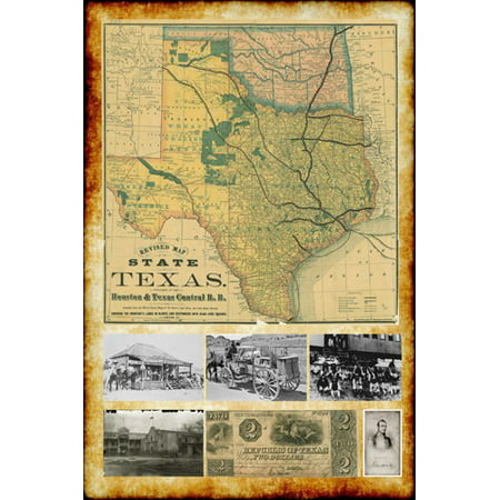 1876 Republic Of Texas Map With Vintage Pictures Poster 24X36 Historic Rare ()