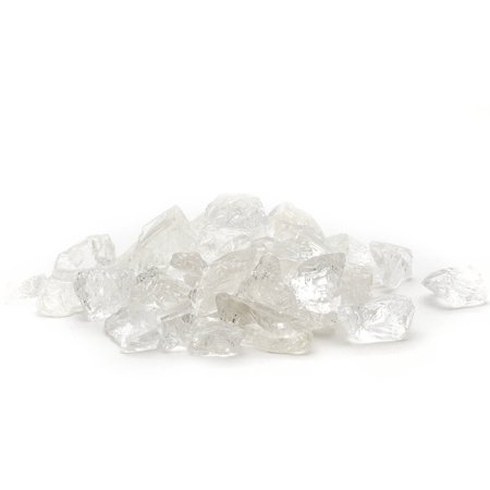Dragon Glass 10 lb Ice Clear Landscape & Fire Pit Glass, 1/4