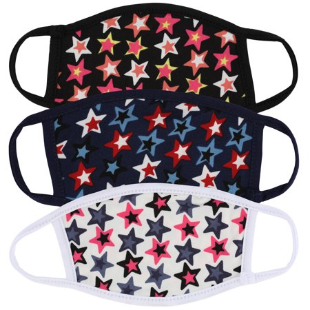 3 Pcs Kids Size Star Print Variety Pack Face Mask for Children Reusable Comfortable Washable Made In USA masks