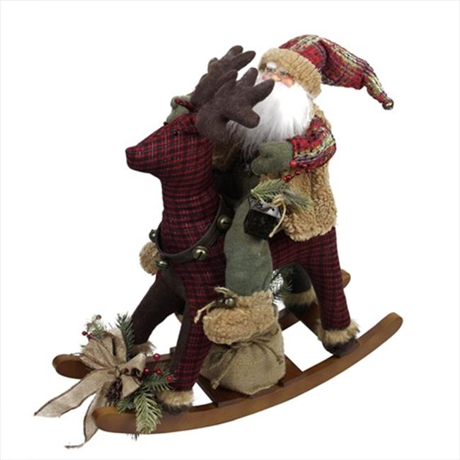 NorthLight 25 in. Country Rustic Santa Claus On Plaid Roc...