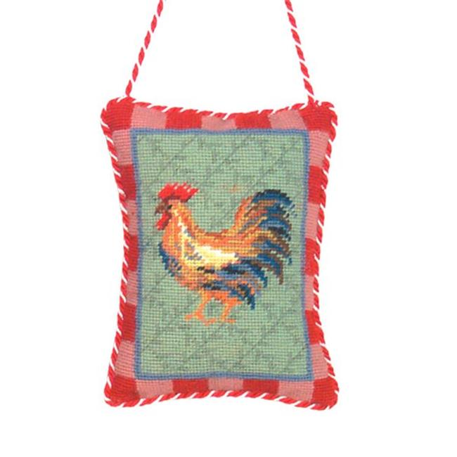 123 Creations 83090H Rooster petit-point doorknob hanger
