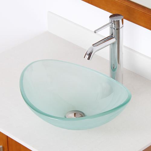 Elite Unique Oval Frosted Tempered Glass Bathroom Vessel ...