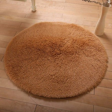 - NK Home 16'' Round  Rugs Circular Bedroom Fluffy Rugs Anti-Skid Shaggy Area Office Sitting Drawing Room Gateway Door Carpet Red, Pink, Brown,ect