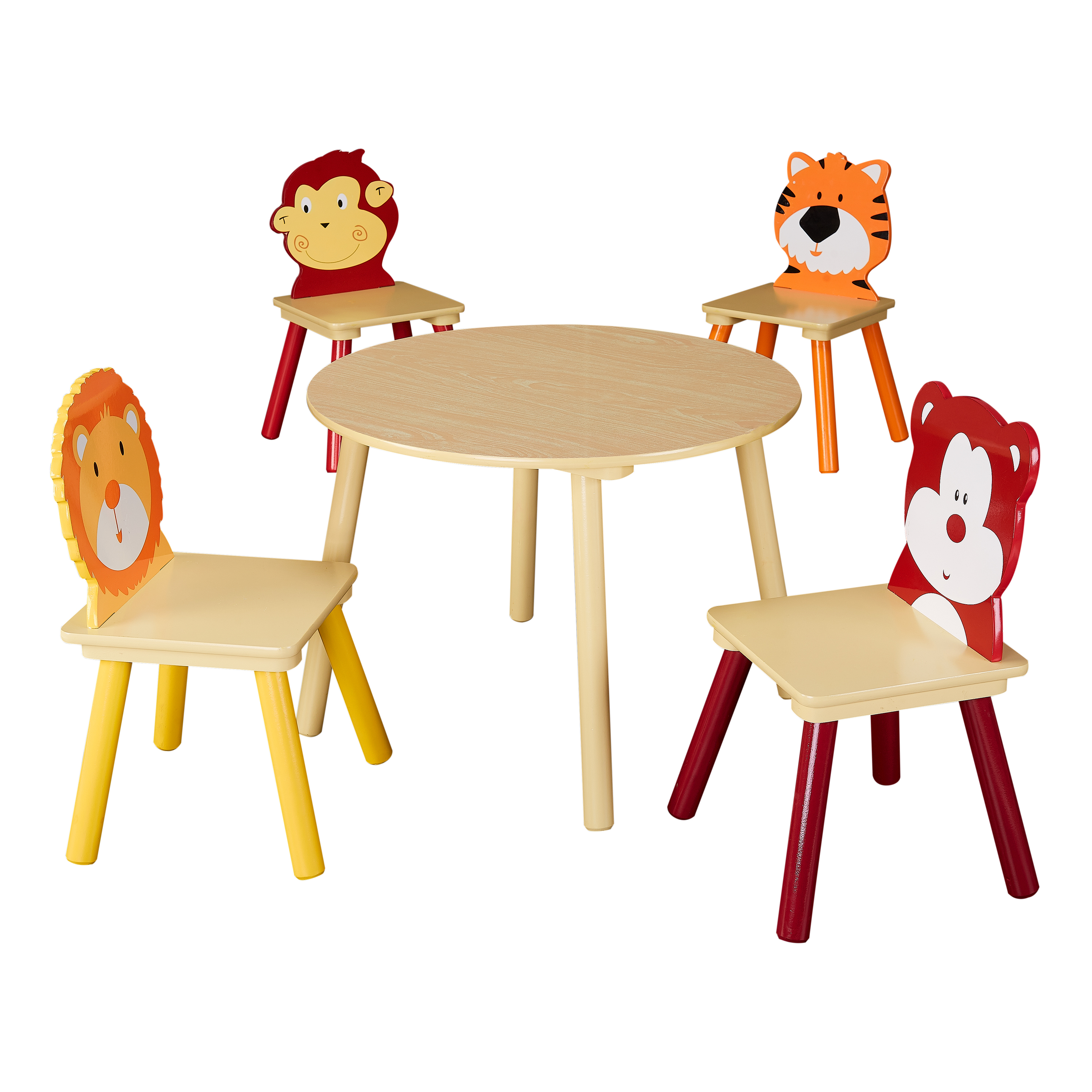 Senda Kids' Wooden Animals Table and Chairs Set, 5 Piece