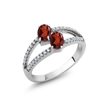 Oval Faceted Garnet Ring - 1.41 Ct Oval Red Garnet Two Stone 925 Sterling Silver Ring