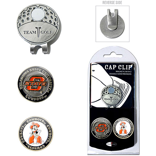 Team Golf NCAA Oklahoma State Cap Clip With 2 Golf Ball Markers