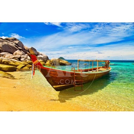 Thai Longtail Boat Anchored in a Turqouise Bay Print Wall Art By