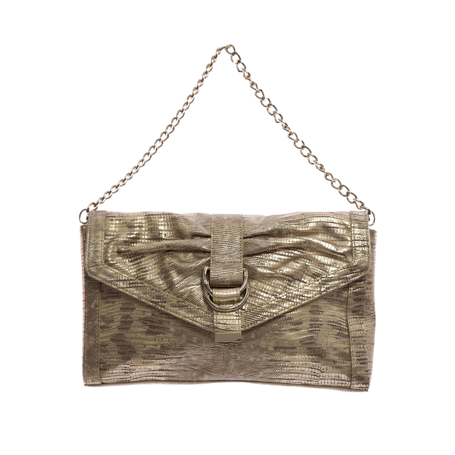 Elaine Turner Women's Snake Embossed Leather Clutch Bag One Size Gold