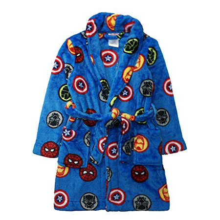 Marvel Little/Big Boys Avengers Blue Plush Robe, Blue, - Boys Boxing Robe