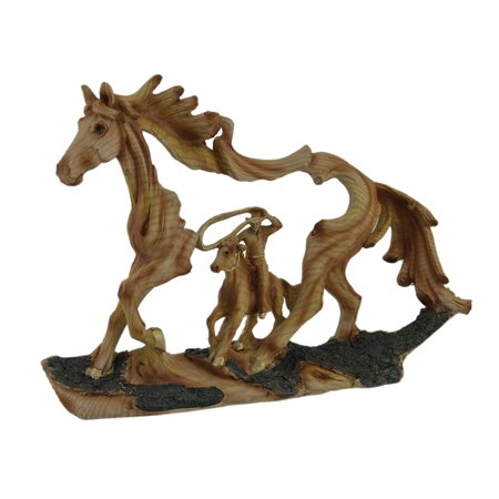 Reigning In Roping Cowboy and Horse Decorative Wood Look