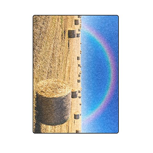 CADecor Straw Bales on Field in Late Summer and Rainbow Throw Blanket Bed Sofa Blanket 58x80 inches