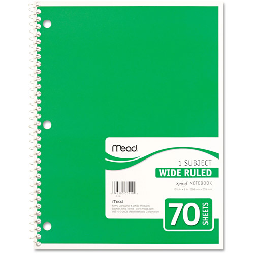 Mead Spiral Bound Notebook, Wide Rule, 8 x 10-1/2, 1 Subject, 70-Sheets, Colors May Vary