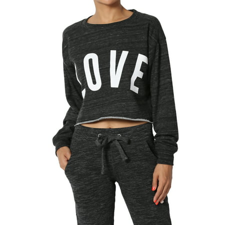 TheMogan Junior's LOVE Print French Terry Long Sleeve Raw Hem Cropped Pullover Top