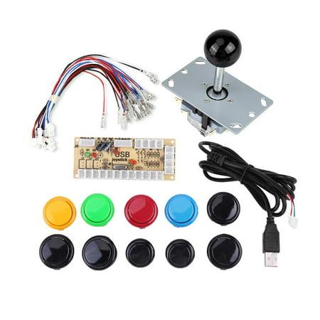 Ejoyous Zero Delay Arcade Game DIY Kits Parts 10 Buttons + Joystick + USB Encoder for MAME PC, DIY Game Buttons, Arcade Game Buttons - image 2 of 3