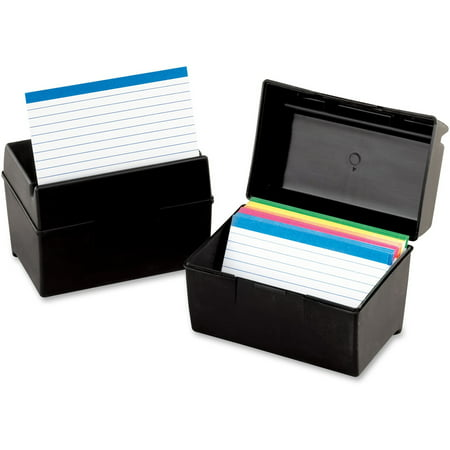 Oxford, OXF01581, Plastic Index Card Boxes with Lids, 1 Each, Black - Diy Index Card Holder