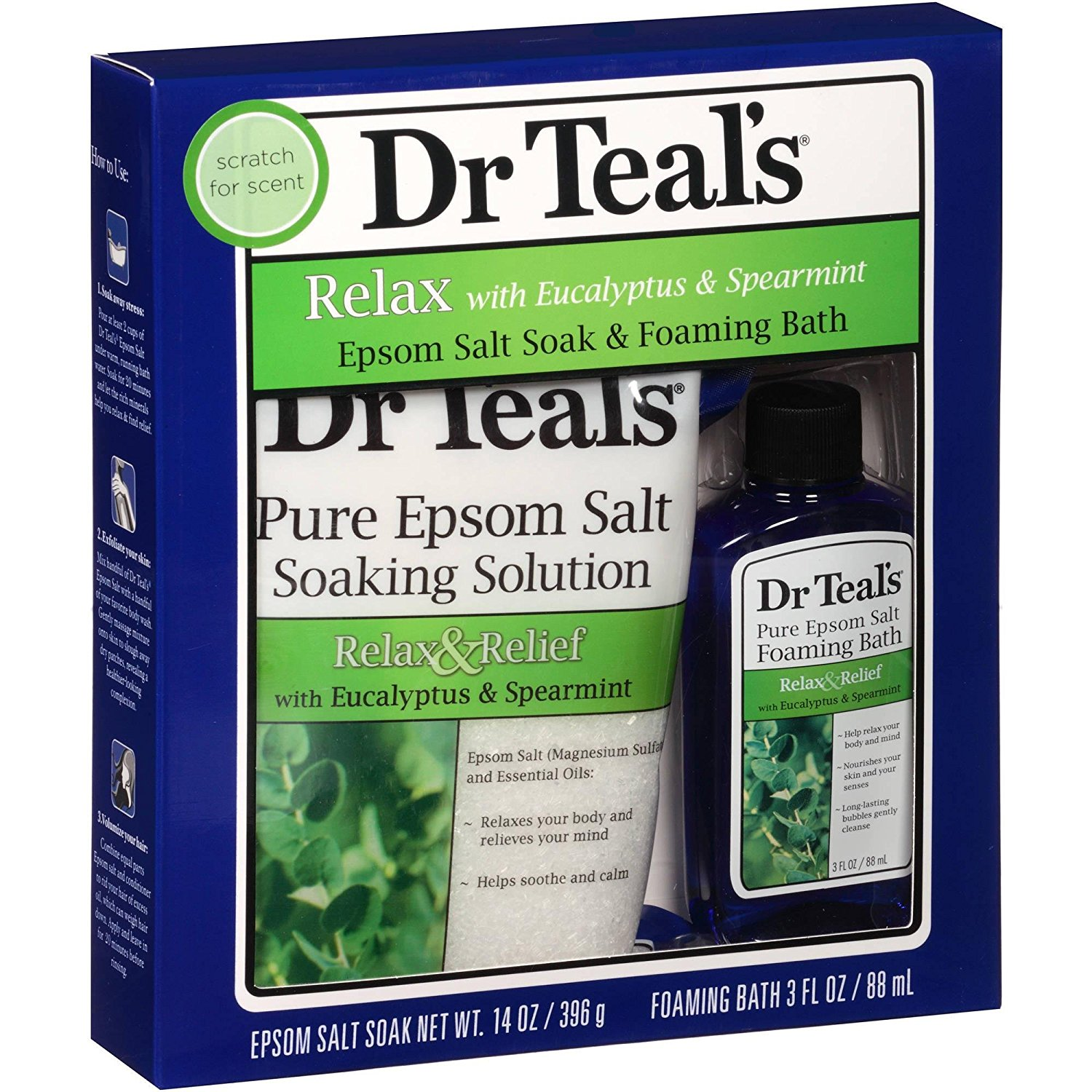Dr Teal's Epsom Salt Soak & Foaming Bath Gift Set (Relax with Eucalyptus & Spearmint), Includes 14oz of Soaking Solution and 3oz of Foaming Bath By Dr Teals
