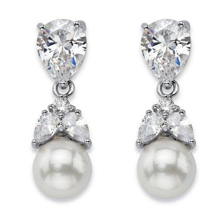 Crystal Flower Teardrop Earrings (Teardrop Crystal and Simulated Pearl Drop Earrings in Silvertone 7/8