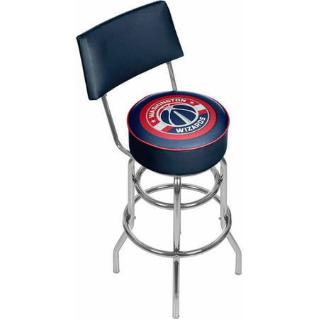 "Trademark NBA Washington Wizards 40"" Padded Swivel Bar Stool with Back, Chrome by"