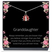 SheridanStar Granddaughter Red Ladybug Pendant Necklace on Inspirational Message Jewelry Gift Card for Kids, Girls, Teens