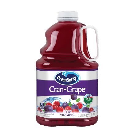 (2 pack) Ocean Spray Juice Drink, Cranberry Grape Juice, 101.4 Fl Oz, 1 Count