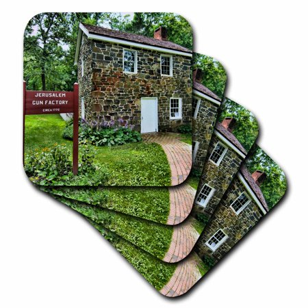 3dRose Jerusalem Mill Village, Maryland, old colonial town, gun factory - Soft Coasters, set of (Malls Maryland)