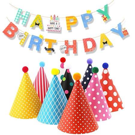 Kids Happy Birthday Banner Party Hats Set