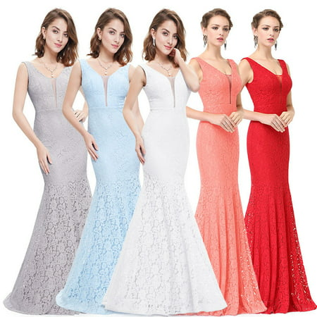 Ever-Pretty Womens Elegant Long Sleeveless Lace Evening Prom Bridesmaid Wedding Guest Red Carpet Gown for Women 08838 Blue US - White Cap And Gown